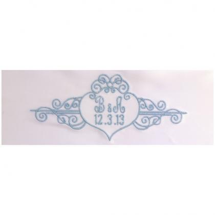 Alyssa Embroidered Personalized Satin Ribbon Wedding Gown Label - Bridal Blue