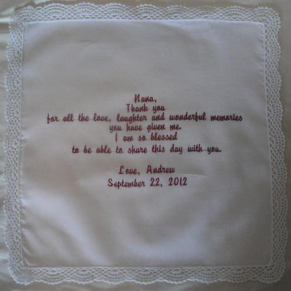 Grandmother of Bride or Groom Hankie - Laughter and Love - Embroidered and Personalized