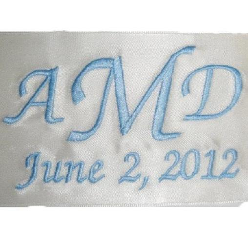 Amy Embroidered Personalized Satin Ribbon Wedding Gown Label